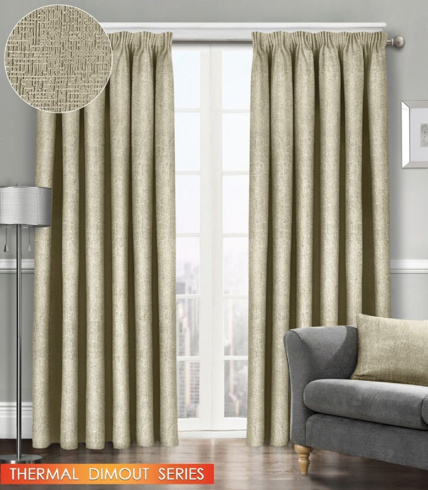 SEMI PLAIN READY MADE THERMAL WOVEN MATERIAL DIMOUT PENCIL PLEAT PAIR CURTAINS LATTE COLOUR